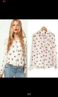 Buy1 Take1 Women Red Lip Flower Shirt Chiffon Blouse Long Sleeve Shirt