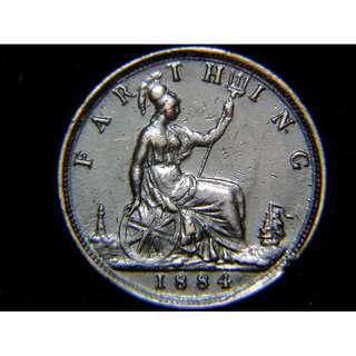 1884年大英帝國不列顛尼亞女神坐像1/4便士銅幣(英女皇維多利亞像, 好品)