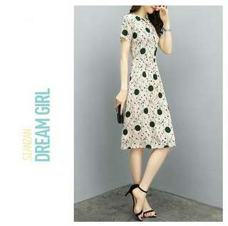 Keyhole Neck Printed A-Line Midi Dress (KR101864)