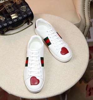 🚚 現貨 真品 Gucci New Ace heart 愛心款 小白鞋 皮革 休閒鞋