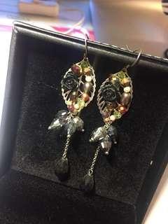 黑玫瑰耳環 black rose earrings