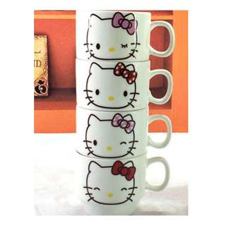 Hello Kitty Four Pieces Set Cup with Iron Shelf Hob