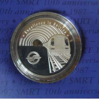 1997 Singapore 10th Anniversary of SMRT Silver Proof Medallion