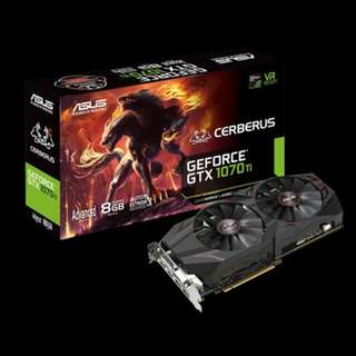 ASUS Cerberus GeForce® GTX 1070 Ti 8GB GDDR5 Advanced Edition VR Ready DP HDMI DVI Gaming Graphics Card