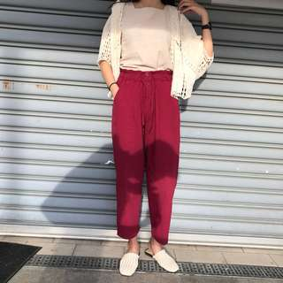 🚚 棉麻高腰排扣 經典紅長褲