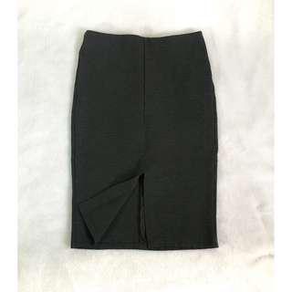 Mango Suit Pencil Skirt (Stretchable Dark Gray / Black)