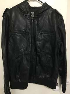 Industrie Hooded Leather Jacket size Large