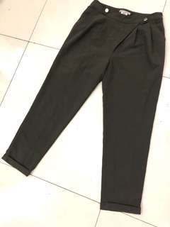 Olive green trousers high waist