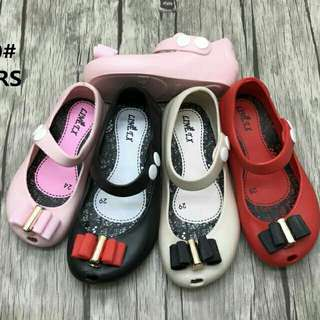 Sepatu jelly anak ribbon tumpuk