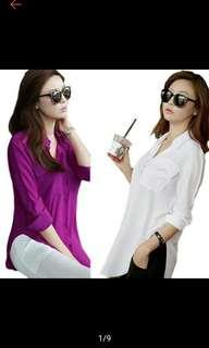 Buy1 Take1 Long Sleeve Chiffon Shirt Turn-Down Collar Casual Loose Tops