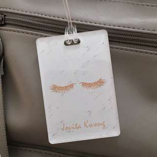 custom bag tag - eyelashes marble