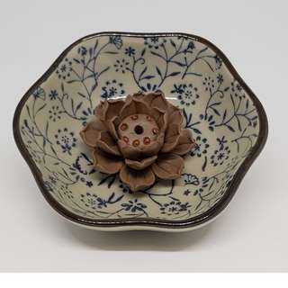 Ceramic Lotus Incense Holder/Burner 陶泥蓮花线香插