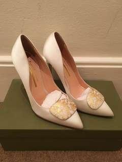Rupert Sanderson 24k Gold Limited Edition Splatter pebble white satin heels