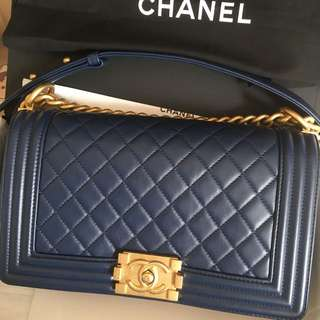 Chanel Boy Medium Dark Blue 100%real & New