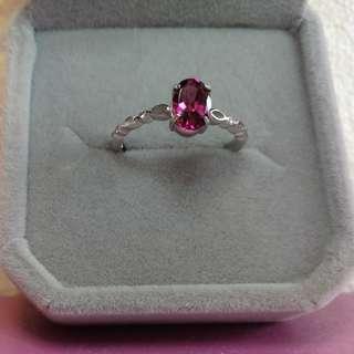 👑天然寳石粉紅碧璽純銀鍍白金戒指🌠精緻清新款🌠主石4x6mm晶體通透 顏色漂亮 活口圈🌠精工鑲嵌 Natural Pink Tourmaline silver white Gold plated Ring