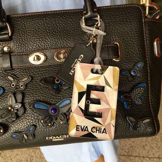 custom bag tag - geometric marble