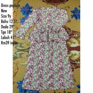 Dress peplum cotton 9y & 3y