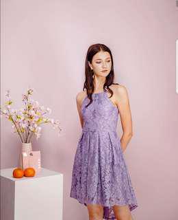 🚚 Fayth Anya Asymmetric Lace Dress, Ash Violet S