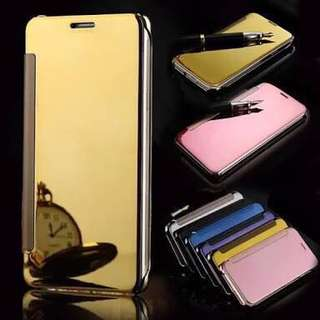 Plating mirror window view kickstand magnetic flip protective case