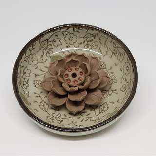 Ceramic Lotus Incense Holder/Burner 陶泥蓮花线香插
