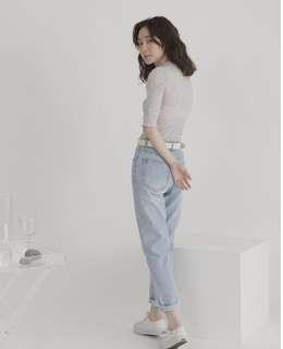 🚚 Soulsis 清新淺藍牛仔9分褲 M