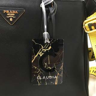 custom bag tag - black gold