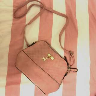 Pink Leatherette Sling bag SWIPE FOR PHOTOS