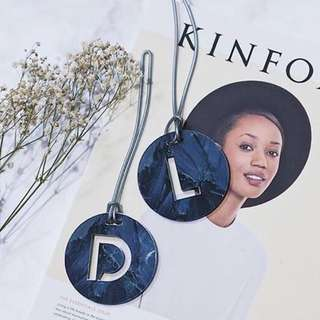 custom bag tag - circular marble
