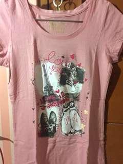 Cache cache pink shirt/ baju kaos