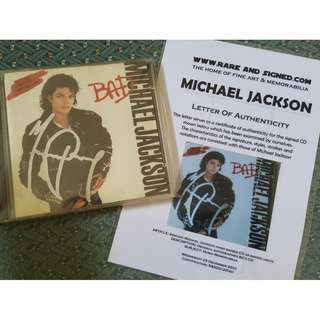 Michael Jackson Autographed CD with COA [BAD Album]