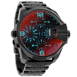 UBER CHIEF BLACK DIAL MEN'S DUAL TIME WATCH DZ7373