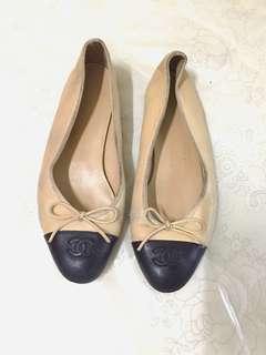 CHANEL Lambskin Cap Toe Ballerina Flat