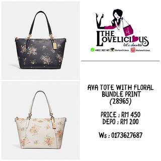 AVA TOTE WITH FLORAL BUNDLE PRINT COACH F28965