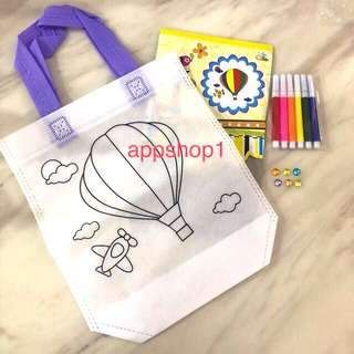 DIY coloring hand carry bag (hot air balloon) - party games, goodies bag