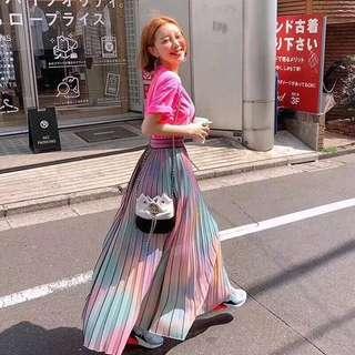 Japan and Korea Hot Item: Ombré Pleated Long Skirt