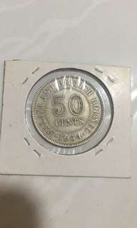 1954  50c Singapore old coin