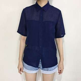 Embroidered Navy Shirt