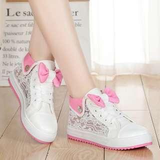 [PRE-ORDER] Women Cute Ribbon Mesh Rubber Shoes Teen Fashion Plus Size Sneakers [White/Black]