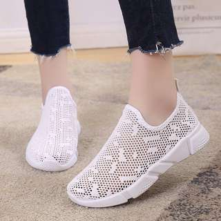 [PRE-ORDER] Women Mesh Easy Slip On Pedal Loafers Sports Plus Size Ladies Shoes [White/Black/Pink]