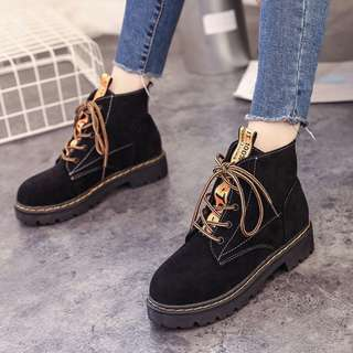 [PRE-ORDER] Women Ankle High Velvet Boots Lace Up Low Heel Plus Size Boots [Black/Khaki/Green]