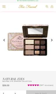 Too faced natural eyes BNIB authentic [SALE] from Sephora