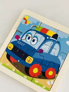 Police car - transportation theme goodies favors, goody bag gift (wooden puzzle)