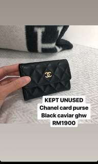 Chanel card Purse Black Caviar GHW