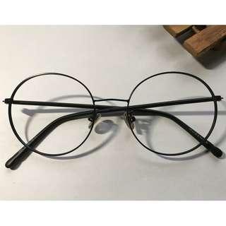 韓式全黑色圓形眼鏡(D41)