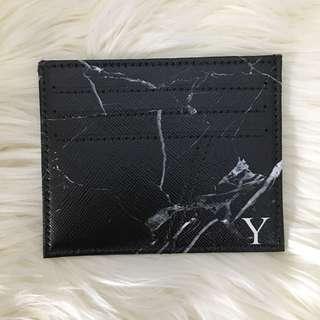custom card holder - black marble