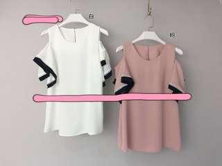 🎀korean off should pink top