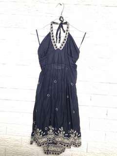 Halter neck cotton navy dress