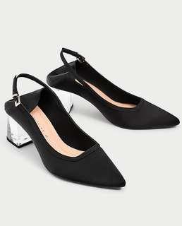 New! ZARA black slingback with clear heels