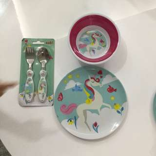 Kmart unicorn cutlery set cottonon poney carters gap