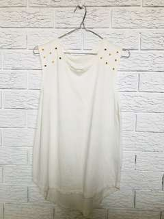 Cream top with gold studs
